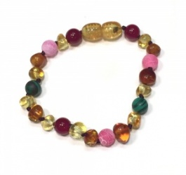 Adult Baroque Amber and Semi Precious Clasp Bracelet  - PINK