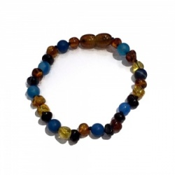 Adult Baroque Amber and Semi Precious Clasp Bracelet  - BLUE