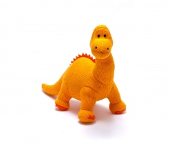 Orange Knitted Diplodocus Dinosaur Toy - small
