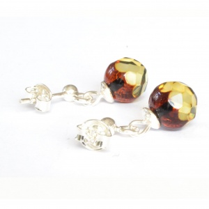 Faceted Green Amber Drop Earrings with Sterling Silver 925