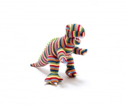 Multi Stripe Knitted T Rex Dinosaur Toy - small