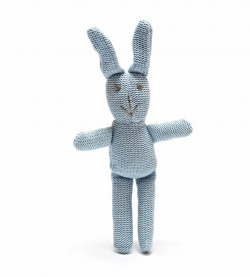 Best Years Bunny Toy for Babies Knitted Organic Blue Rabbit with Rattle