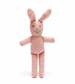 Best Years Bunny Toy for Babies Knitted Organic Pink Rabbit with Rattle