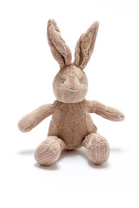 Pebble Knitted Brown Rabbit with Rattle