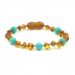 Cognac Amber And Turquoise Bracelet / Anklet