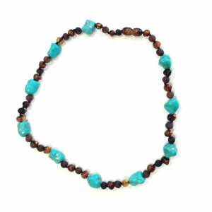 Adult Amber and Turquoise Pebbles Necklace