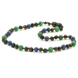 Adult Dark Cherry Amber African Jade and Lapis Lazuli Mix Necklace