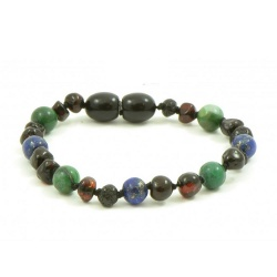 Adult Dark Cherry Amber African Jade and Lapis Lazuli Mix Bracelet