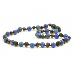 Adult Dark Cherry Amber And Lapis Lazuli Necklace