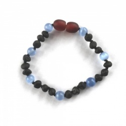 Unpolished DARK CHERRY Amber and BLUE Cats Eye Child Clasp Bracelet / Anklet