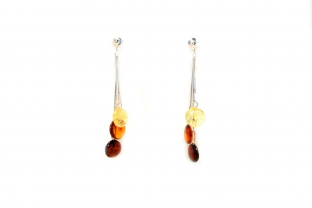 Multicoloured Amber Circle Drop Earrings with Sterling Silver 925