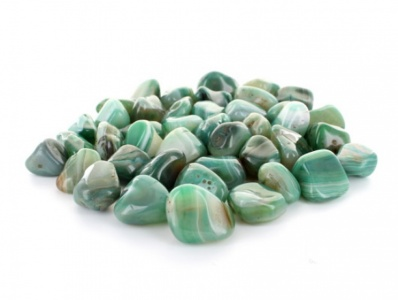 Agate Green Banded Tumblestone Crystal Gemstones