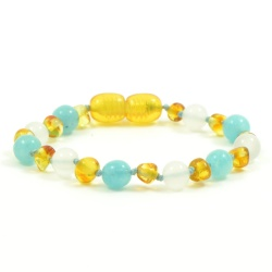 Adult Honey Amber White Agate and Aquamarine Mix Bracelet