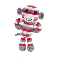 Pebble Monkey Rattle - Red