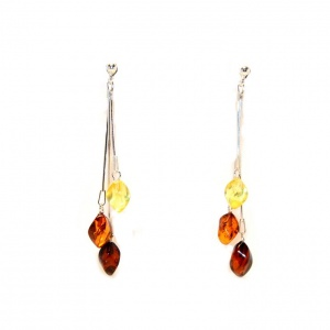 Multicoloured Amber Drop Earrings with Sterling Silver 925