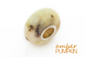 Greeny White Amber Charm Bead