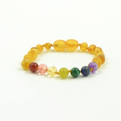 Adult 'Pot of Gold' Amber And Semi-Precious Stones Clasp Bracelet