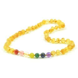 Adult 'Pot of Gold' Amber And Semi-Precious Stones Clasp Necklace