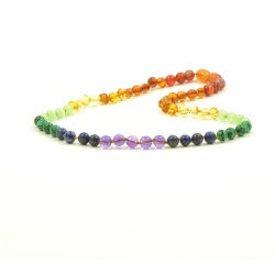 Adult 'Rainbow Baby' Amber and Semi-precious Stones Necklace