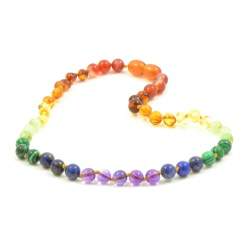 'Rainbow Baby' Amber and Semi-Precious Stones Necklace