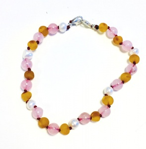 Adult Adjustable Sea Pearl Unpolished Honey Amber And Rose Quartz  Bracelet
