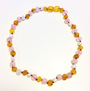 Sea Pearl, Unpolished Honey Amber and Rose Quartz Necklace