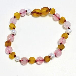 Adult Sea Pearl, Unpolished Honey Amber and Rose Quartz Mix Bracelet