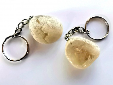Smoky Quartz Dragons Egg Crystal Keyring