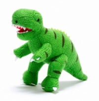 Green Knitted T Rex Dinosaur Toy - small