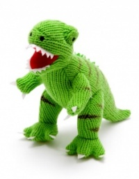 Green Knitted T Rex Dinosaur Toy