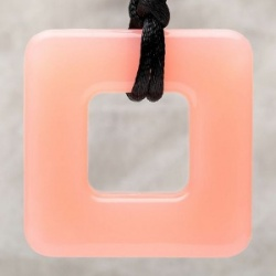Teething Bling Pendant - Pink Cupcake Square