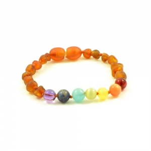 Adult Chakra Unpolished Baltic Amber Bracelet