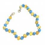 Child Adjustable Unpolished Honey and Blue Cats Eye Amber Anklet / Bracelet