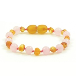 Adult Unpolished Honey Amber and Rose Quartz Mix Bracelet