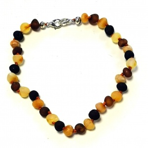Adult Adjustable Unpolished Multi Amber Bracelet