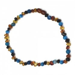 Amber and Semi Precious Stone necklace - BLUE