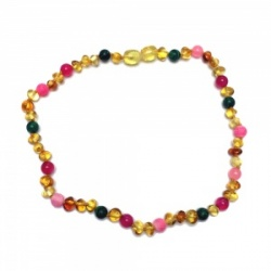 45cm Amber and Semi Precious Stone necklace - PINK
