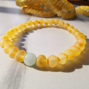 Adult Baltic Amber Bracelet with Jade
