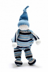 Under the Nile Organic Cotton Baby Buddy Blue and Grey Strip Blue Hat