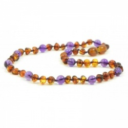 Cognac Amber and Amethyst Necklace