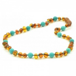 Cognac Amber and Turquoise Necklace
