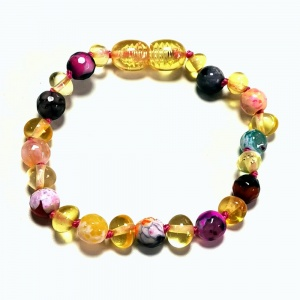 Champagne Amber and Colourful Agate Bracelet / Anklet