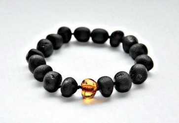 Adult Unpolished Dark Cherry Amber and Honey Bracelet