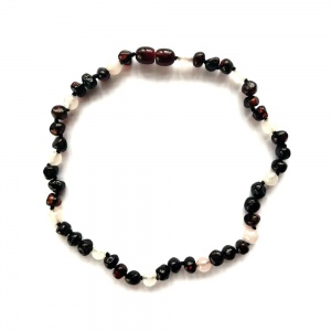 Dark Cherry Amber and Rose Quartz Necklace