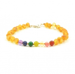 Adjustable 'Pot of Gold' Amber And Semi-Precious Stones Bracelet