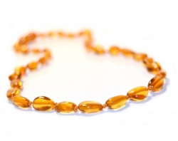 Olive Bean Child Amber Necklace