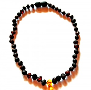 Adult Unpolished Dark Cherry Amber and Honey Necklace